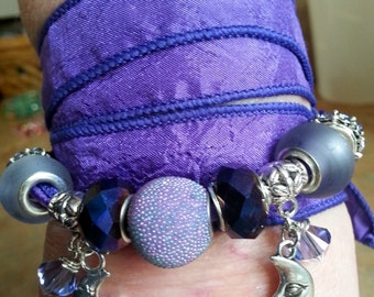 Lovely Silk Wrap Bracelet Purple Passions