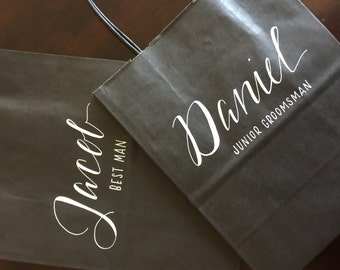 Groomsman Gift Bag, Bridesmaid Gift Bag, Groomsmen, Personalized Gift Bag, Black, White, Customized, Christmas