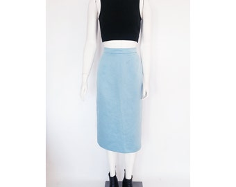 VTG 90s Minimalist Structured Dior/ Jil Sander/ Celine Inspired Baby Blue Midi Length High Waisted Skirt