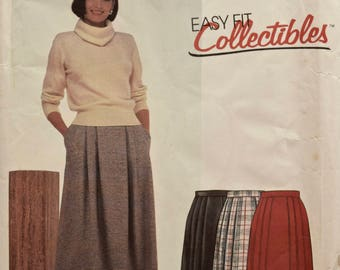 McCalls 2152 Vintage 1980's Sewing Pattern Misses' Pleated Skirt Side Seam Pockets Waist Band 80s Skirt Pattern Partially Used  Size 14