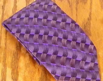 "NWOT GD Grateful Dead River Run Deep Theme Silk Tie gray/purple 59"" 3.75"""