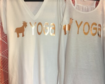 GOAT YOGA V-Neck, Tank, Request any color - Rose Gold Foil
