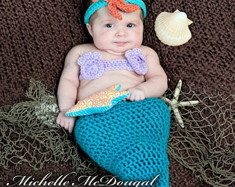 6 to 9 month Mermaid Halloween Costume,  Sitter Photo Prop Costume