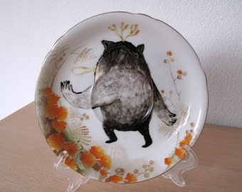 Running Away with Orange Flowers Monster Decorative Plate / Original Pieces