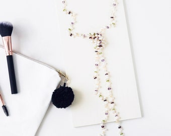 Pearl and Gemstone Lariat Necklace | Mother's Day Gift | Gift | Pearl Necklace | Lariat Necklace | Peridot | Garnet | Amethyst | Quartz