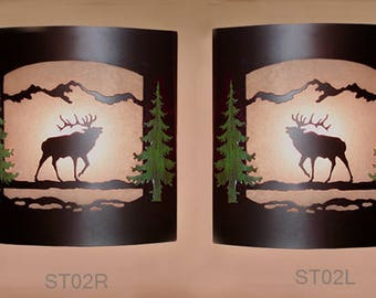 Pair of 2 Wall Sconce Rustic Elk Light, Cabin Decor Lamp, Hand Painted Left & Right Facing