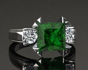 Emerald Engagement Ring 2.00 Carat Princess Cut Emerald And Diamond Ring In 14k or 18k White Gold. Matching Wedding Band Available SW16GW