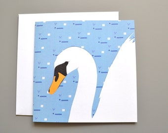 Swan card with patterned background