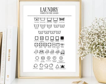 Laundry Guide Wash symbols print, Clothes care sign, Ironing instruction printable art, Laundry symbols poster Bathroom decor, DIGITAL FILES