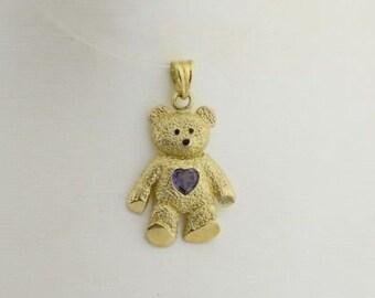 10k Yellow Gold Estate Purple Sapphire Heart Teddy Bear Pendant