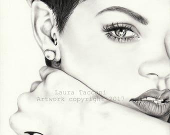 Stampa d'arte firmata - Ritratto di Rihanna - Disegno grafite