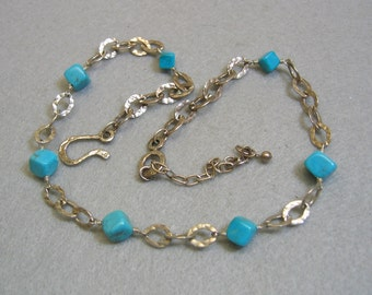 Sterling Southwestern Turquoise Bead Necklace, Vintage