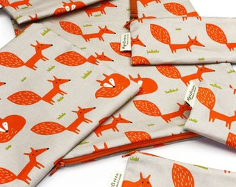 Fox-Gray, Reusable Snack Bags, Zippered Pouch, Waterproof pouches, Pouch Set, Snack & Sandwich Bags, Back to school, Animal prints, vixen
