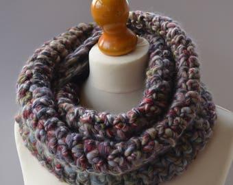 Grey blue merino wool scarf. Grey chunky scarf. Grey multi cowl scarf. Grey infinity scarf. Chunky winter scarf. Merino wool cowl.
