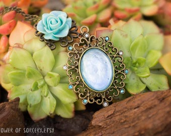 ICE RESISTANCE Amulet Fantasy necklace - Mint rose swarovski crystals. Hand painted Dnd Dungeons and Draogns
