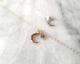 Nebula, Crescent moon necklace, Gemstone necklace, gold crescent moon necklace, moonstone necklace, labradorite moon necklace, gift