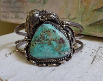 Gorgeous Vintage Signed Turquoise Stone and Silver Metal Cuff Bracelet