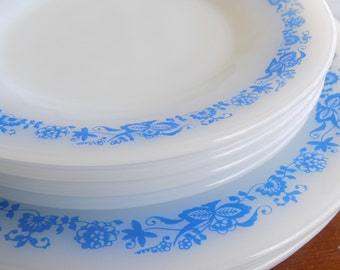 Vintage Milk Glass Plates, Blue and White Dinnerware, Termo-Rey Blue Onion Milk Glass Plates, Dinner and Salad Plate Setting for Four (4)