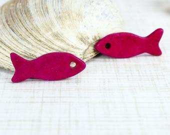 25%OFF SALE -- Mykonos Ceramic Beads 2 Large, Fish Greek Beads Cherry Red DIY Nautical Summer pendant 35mm