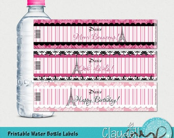 Dreaming of Paris Printable Water Bottle Labels - 300 DPI