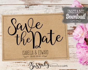 Save the Date Wedding Card - INSTANT DOWNLOAD - Partially Editable Printable, Brown Kraft, Wedding Stationery, Flat Cards