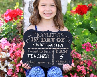 First Day of School Sign, Chalkboard Sign, 1st Day, Back to School Chalkboard Sign, Engraved Chalkboard Sign --27912-C001-000