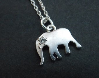 Elephant Necklace, Silver Necklace, Silver Elephant Pendant, Silver, Cubic Zirconia, Friend Gift, Cute Gift, Animal Jewelry