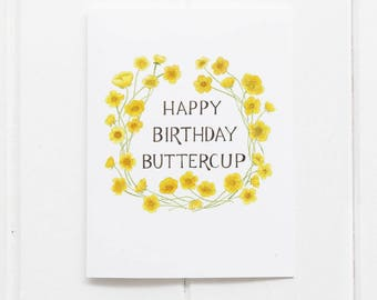 Buttercup Birthday Illustrated Greeting Card