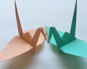 Origami Cranes Medium-50 Peach/Mint Colored Japanese Paper Cranes