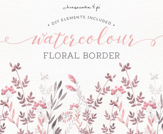 Watercolor floral border hand painted floral clip art wedding watercolor floral border hand painted floral clip art wedding invitation clip art commercial use pink grey blush cm0072a from lisaglanzgraphics stopboris Gallery