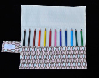 Raindrops 'Ramsay' Pencil Roll, Handmade pencil roll, fabric pencil roll