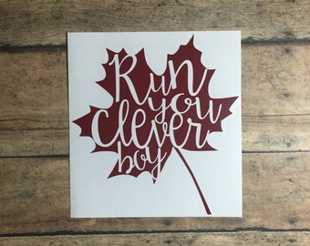 run you clever boy / decal / eleventh doctor /  doctor who / clara oswald / clever / boy / tardis / timelord / geekery / geek / nerd