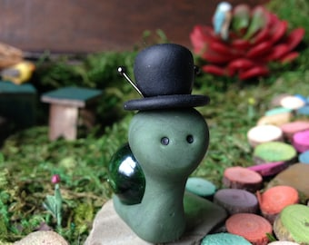Polymer Clay Marble Snail / Fairy Garden / Figure / Figurine / Gift / Unique / OOAK /  The Impulse Collection - Franklin the Top Hat Snail /