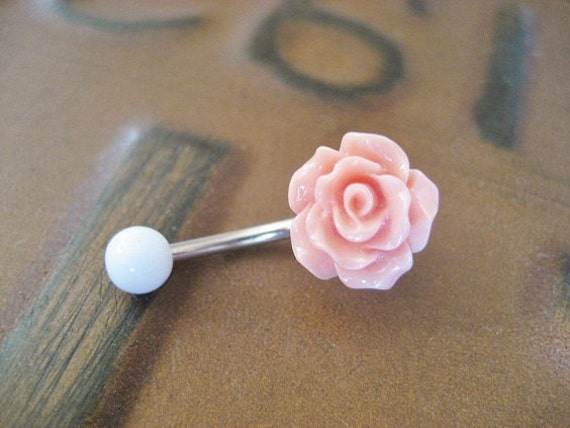Belly Button Ring Jewelry Rose Bud Belly Button Ring Coral-7838