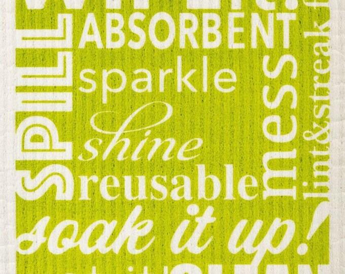Word Art Green Swedish Cloth