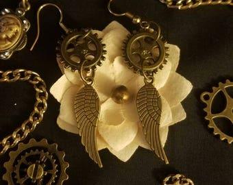 Steampunk Angel Wing Dangle Earrings
