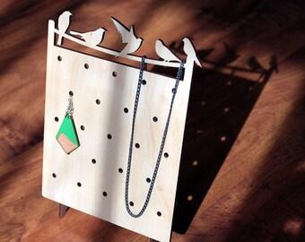 Wooden jewelry stand, organizer, display / minimalist, modern with bird silhouettes / birds on a wire / eco friendly