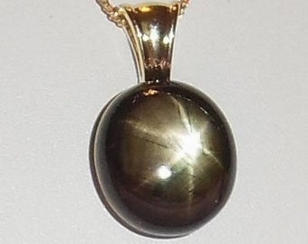 Natural 60 ct Golden Black 6 Star Sapphire gemstone, 14kt Vermeil Pendant 21 x 19 x 12mm