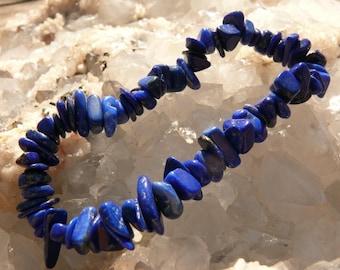 Lapis Lazuli chip bracelet on elastic thread