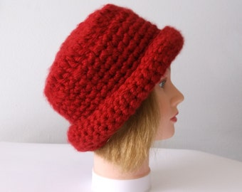 Cranberry Womens Cloche Hat,Ready to Ship,Valentine Hat,