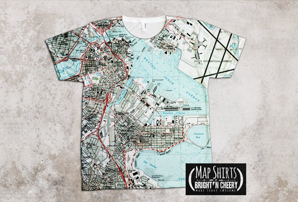 Boston Vintage Map Shirt, I love boston all over print tee, boston gift, unique t shirt cool graphic tee boston pride t shirt