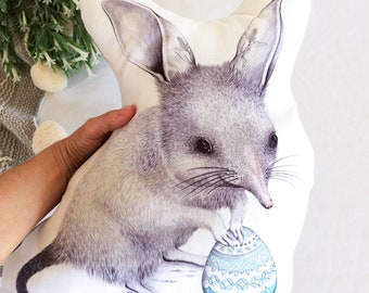 Easter Bilby Stuffie, Medium Size. Australian Animal Softie, Plush Soft Toy. Illustration by flossy-p. Grey back.
