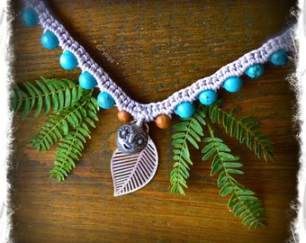 Reserved. HAPPY Seed necklace SMILEY Face crochet jewelry Turquoise necklace Cute gift for her Woodland Fairy womens accessories GPyoga