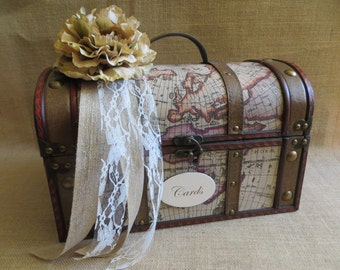 Vintage Style Travel Wedding Trunk, Wedding Card Holder, Card Box, Money Holder, Money Box, Wedding Suitcase, Rustic Wedding Box