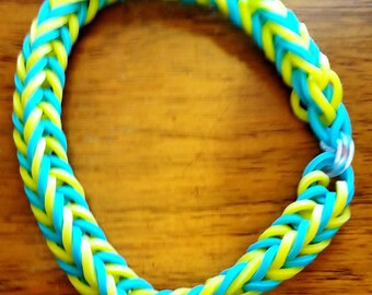 Fishtail Rainbow Loom Bracelet for Adult or Teen.  Colors are Turquoise and Yellow