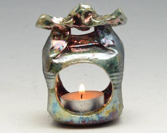 Tiny Lantern House or Hermitage in Bright Gold and Copper Raku Ceramics