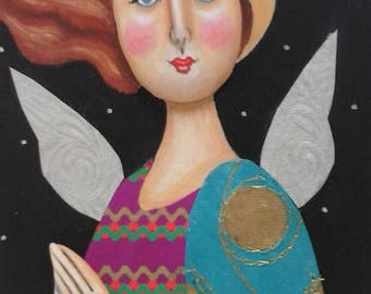 Original Folk Art Angel Painting, Inspirational Painting, Assemblage, Mixed Media Painting, Religious Art, Icon, Christmas Art