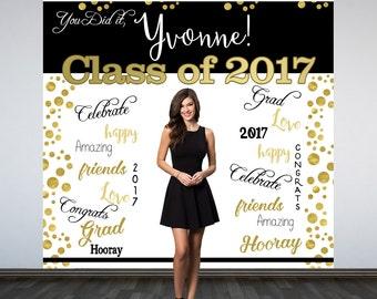 Graduation Photo Backdrop - Congrats Grad Personalized Photo Backdrop- Class of 2017 Photo Backdrop- Photo Booth Backdrop, Printed Backdrop