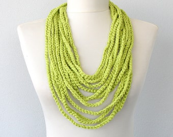 Lime green necklace skinny summer scarf spring crochet infinity scarf pantone fashion for women