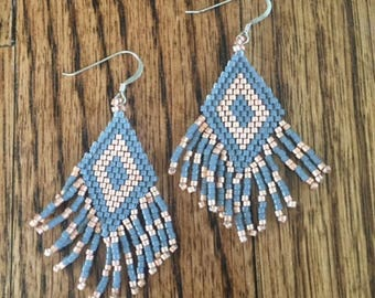 Seed Bead Fringe Earrings /  Gold and Gray Southwest Style Hand Beaded Brick Stitch Earrings
